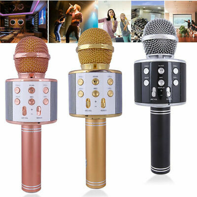 New Wireless Bluetooth Karaoke Microphone Speaker Handheld Mic USB Player KTV UK