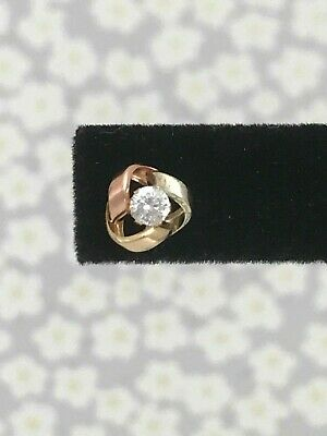 9ct Tri colour Yellow Rose White 375 Knot Gold Cubic Zirconia CZ Stud Earrings