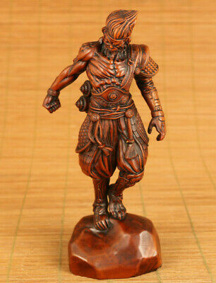 unique chinese old boxwood hand carved buddha monkey king wukong statue