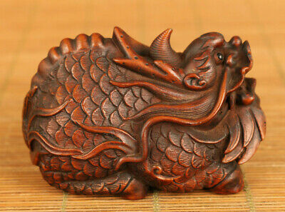 Rare old boxwood  hand carving tortoise dragon statue Hand pieces decoration