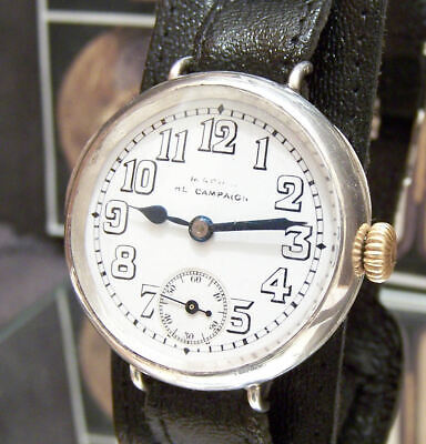 Antique 1914 Omega Ww1 Officers Trench Watch Mappin ' Campaign ' Watch Serviced