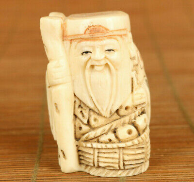 Asian old wood Handcarved god of longevity statue netsuke collectable hand piece
