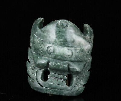 China Collectible Handwork Carving Dragon Mask Jade Waistband Decoration