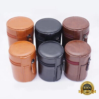 PU Leather DSLR SLR Camera Lens Protective Bag Pouch Case For Canon Nikon Sony