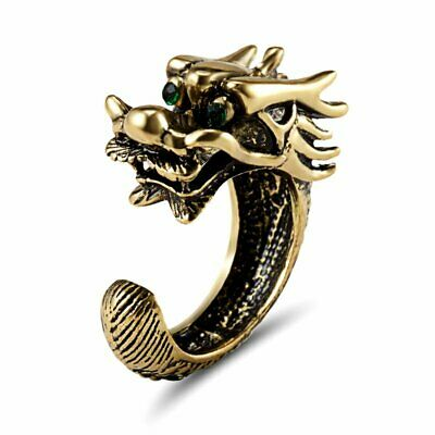 Vintage Stainless Steel Men Punk Dragon Head Knuckle Finger Ring Jewelry Gift