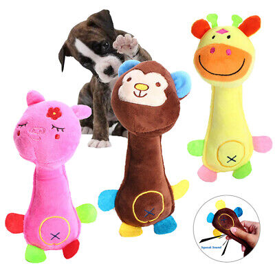 UK Funny Soft Pet Puppy Chew Play Squeaker Squeaky Cute Plush  Giraffe Chew Toys