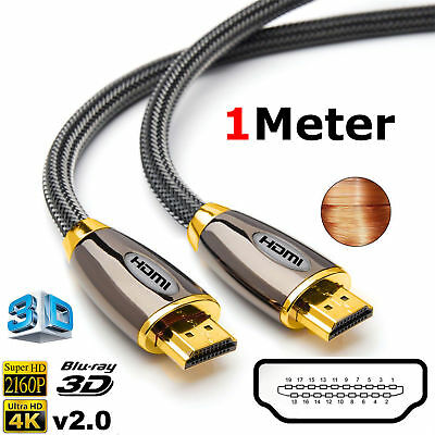 1M PREMIUM UltraHD HDMI Cable Gold Plated v2.0 High Speed 4K 2160p 3D Lead PS3