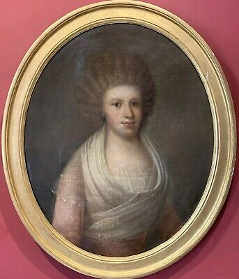 18th CENTURY FRENCH OVAL LARGE OIL PAINTING - PORTRAIT ARISTOCRATIC YOUNG LADY