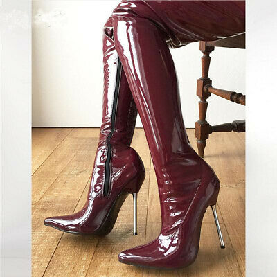 Womens Patent Leather Pointy Toe Over Knee Thigh High Boots Metal High Heel Shoe