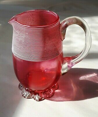 Vintage 1950s Hand-Made Pink Cranberry Art Glass Jug. Raised White Bands. Home