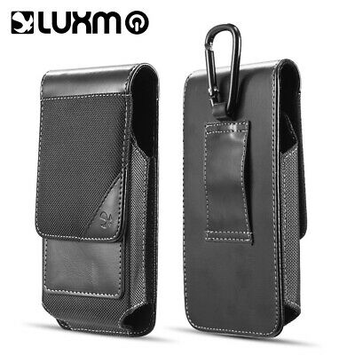 Vertical Leather/Nylon Wallet Pouch Case w/ Belt Loop For Apple iPhone XR Black