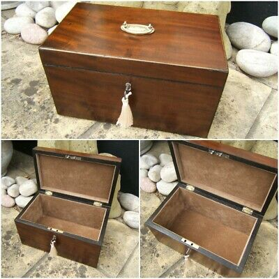 Lovely 19C Figured Mahogany Antique Document/Jewellery Box - Fab Interior