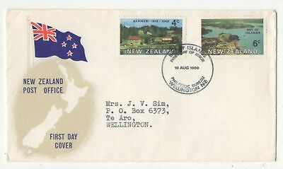 New Zealand First Day Cover Banff Islands 18 Aug 1969  138c