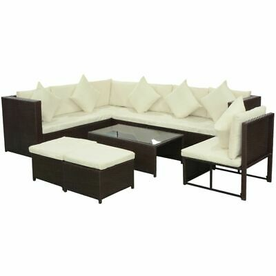 Garden Sofa Set 29 Pieces Wicker Poly Rattan Brown Outdoor Furniture