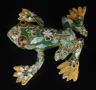 Unique Chinese Cloisonne Enamel Statue Animal Frog Old Hand-Made Craft Collecte
