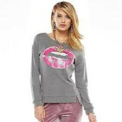 Juicy Couture Long Sleeve T-Shirt Womens Size XS Pink SEQUIN LIPS Design