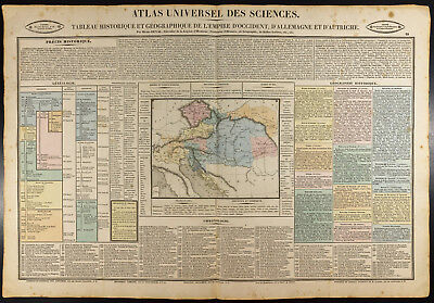 1837 - Card Geographical Old Holy Roman Empire Germanique. Gravure. Austria