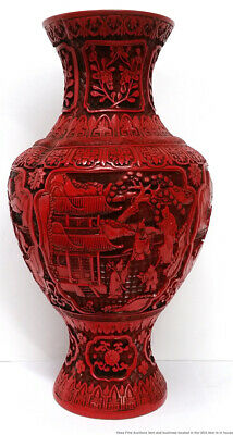 Fine Vintage Chinese Republic Era Large Heavy Carved Cinnabar Lacquer Vase