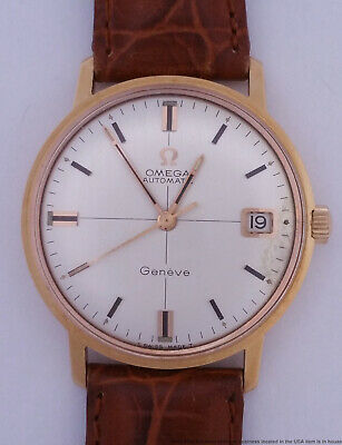 Vintage 18k Rose Gold Omega Automatic 166.037 Mens Cal 565 Wrist Watch