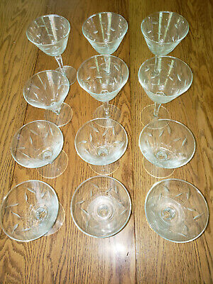 VINTAGE CUT and ETCHED COCKTAIL, MARTINI and WINE GLASS set of 12 c 1960