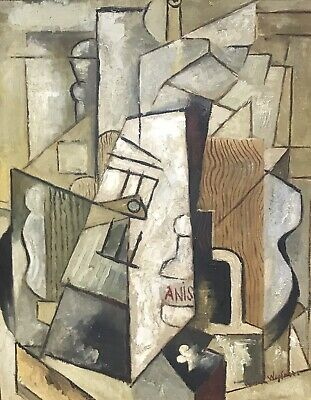 Authentic French Cubist Abstract Signed Oil Painting - Picasso/ Braque Era
