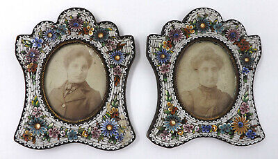 Pair of Vintage Miniature Portraits in Floral Micro Mosaic Picture Frames L72