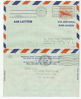 Cpa Pk Ak Timbre Stamp Air Letter Usa Etats-Unis San Antonio-Madrid 1958
