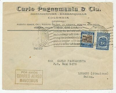 Cpa Pk Ak Timbre Stamp Avion Aviation Colombia Lugano Correo Aereo Mancomun 1946