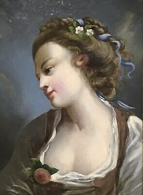 18th/19th CENTURY FRENCH ROCOCO OIL PAINTING - PORTRAIT OF ARISTOCRATIC LADY