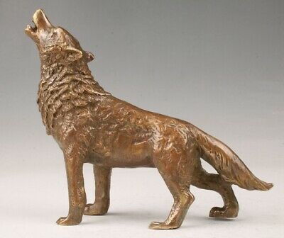 Rare China Bronze Handmade Carving Wolf Animal Statue Old Collection Decora