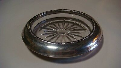 Vintage Wine Coaster Sterling Silver Crystal
