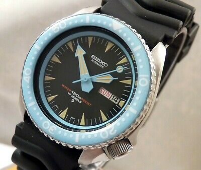 Seiko Ceramic Black Blue Spectre Automatic Divers Day/Date Watch Custom 6309