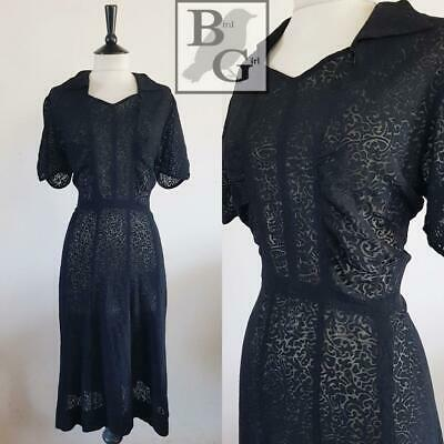 Wartime Original Ww2 1940S Vintage Black Burntout Landgirl Dress 16-18 L