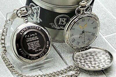 Gentleman Jack Anne Lister Quote Pocket Watch and Chain Lesbian Love Gift Set