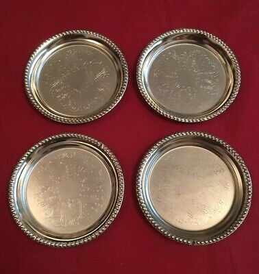 Set Of 4 Vintage Silver Plated Coasters