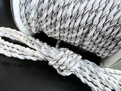 12 yards Metallic Nylon Twine Cord 2mm/String/Lace/Craft/Gift T116-Silver-White
