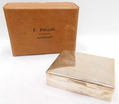 Vintage H & F PHILLIPS Solid Silver Birmingham 1960 BOX with Engraving  - A27