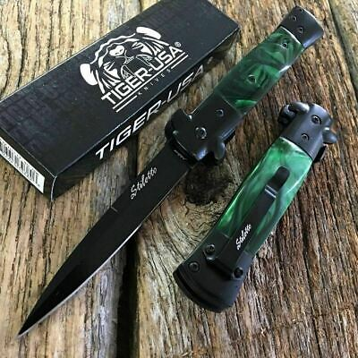 Green Marble Milano Italian Stiletto Tactical Spring Assisted Open Pocket Knife