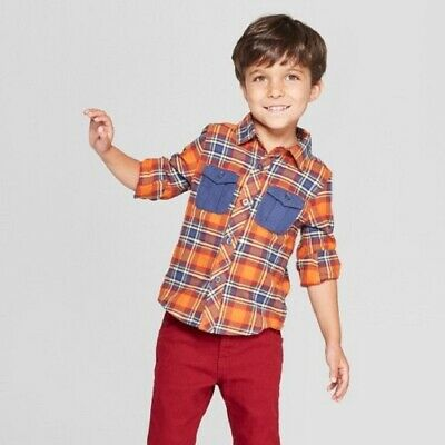 NEW Genuine Kids from OshKosh Toddler Boys' Long Sleeve Flannel Shirt