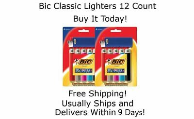 BIC Lighter Classic Full Size Assorted Colors 12 Pieces Cigarette Cigar Lighters