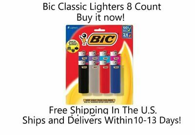 BIC Lighter Classic Full Size Assorted Colors 8-Pack Cigarette Cigar Lighters