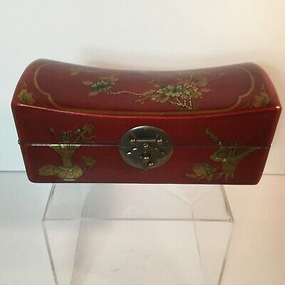 Wooden Box - Asian red with metal Accents, interesting paper liner