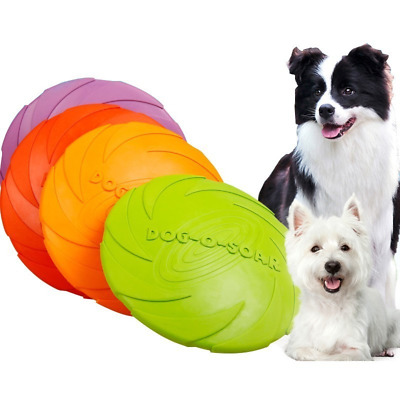 Dog Toy Flyer Flexible Durable Frisbee Disc Large Chew Fetch Toys 15/18/22cm