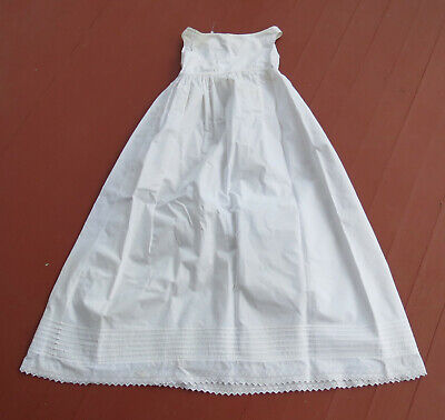 """Antique Baptism Christening Gown Pintucks Broderie Anglaise Lace Embroidery 37"""""""