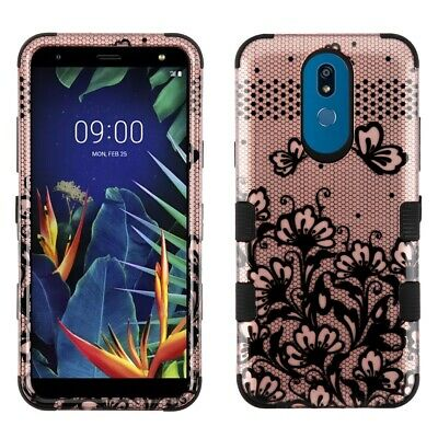 For Lg K40 K12 Plus X4 2019 Rose Gold Lace Flower Tuff 3-Piece Rubber Case Cover