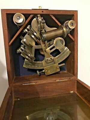 Solid Brass Nautical Sextant With Wooden Box ( Amat 7105 )