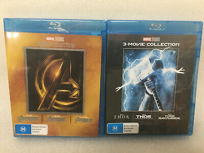 Marvel Lot Avengers Trilogy 1 2 3 Movie Collection Thor 3 Movie Blu-Ray  BOX SET