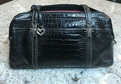 Brighton Black Leather Crocodile Bag Purse