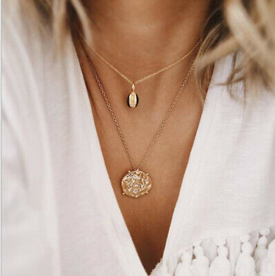 Fashion Women Multilayer Clavicle Necklace Pendant Charm Shell Long Neckalce New