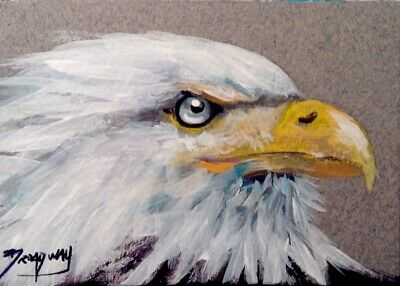 Broadway ACEO Original Impressionism Acrylic 2.5x3.5 in Bald Eagle Face Painting